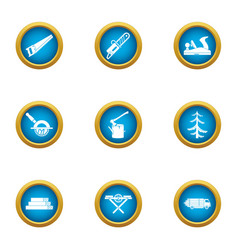 Forestry business icons set flat style vector