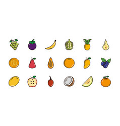 fresh nutrition harvest fruits icons set vector image
