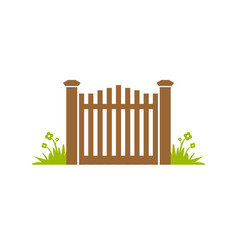 Garden gate fence design vector