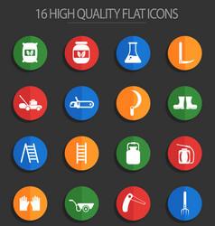 Garden tools 16 flat icons vector