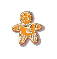 gingerbread man cookie isolated vector image