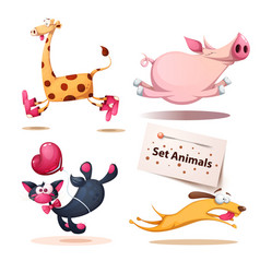 giraffe pig cat dog animals vector image