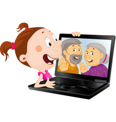 Girl with laptop skype with her old grandparents vector