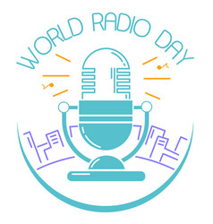Greeting card world radio day vector