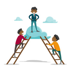 Group of young businessmen climbing on the cloud vector