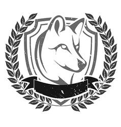 Grunge wolf head emblem vector image