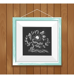 Hand drawn summer poster on the wood background vector image