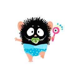 happy baby boy monster walking with pacifier vector image