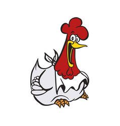 happy chicken cartoon vector image