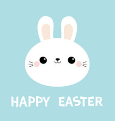 Happy easter white bunny rabbit round face head vector