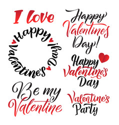 Happy valentines day lettering background greeting vector