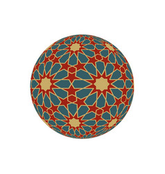 Hexagonal 3d sphere with islamic tessellation vector