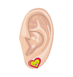 Human ear and earring vector