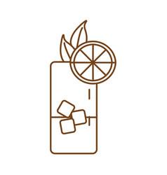 Iced tea with lemon line style icon vector