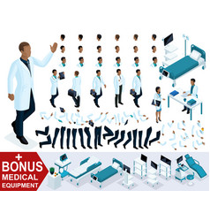 isometrics doctor an african american waving vector image
