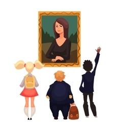 Kids in museum looking at classical work art vector