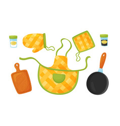 Kitchen handy textile and tools for cooking food vector