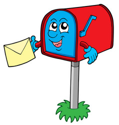 Mail box with letter vector