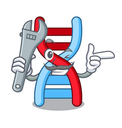 Mechanic dna molecule mascot cartoon vector