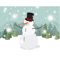 mery christmas card with snowman in snowscape vector image