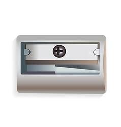 Metal pencil sharpener on white background vector