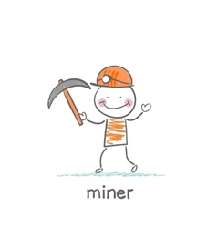 miner holding a pickaxe vector image