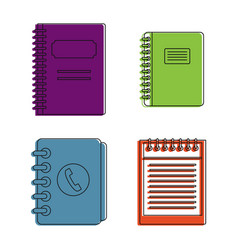 notebook icon set color outline style vector image