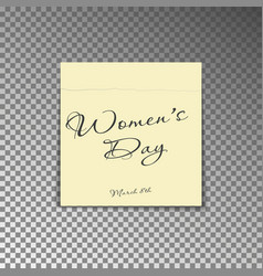 office yellow post note with text womens day and d vector image