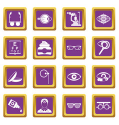 Ophthalmologist tools icons set purple vector
