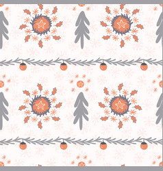 orange and grey christmas tree wreath stripes vector image