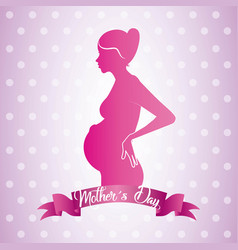 pink profile mom pregnant mothers day ribbon dots vector image