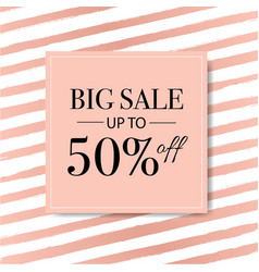 sale banner with pink background with watercolor vector image
