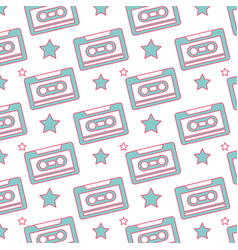 seamless pattern retro cassette tape recorder vector image