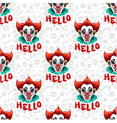 seamless pattern with scary clown face sculls vector image