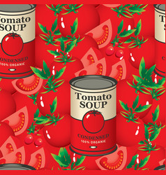 Seamless pattern with tomatoes and tomato soup vector