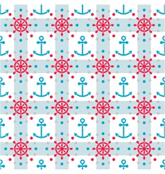 seamless sea pattern with anchors and hand wheels vector image