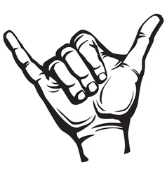 Shaka hand sign vector image