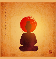 Silhouette buddha and big red sun on vintage vector