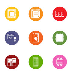 soldering the chip icons set flat style vector image