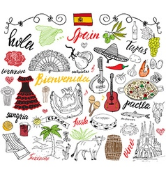 Spain doodles elements Hand drawn set with spanish vector image