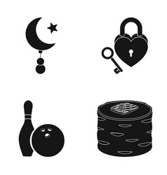 Star and crescent lock and other web icon in vector