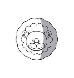 Sticker monochrome contour with male lion head vector