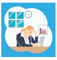 Stress people adult female sad and problem work vector