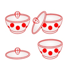Sugar bowl with red dots part of porcelain vector image