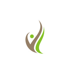 Swoosh people organic logo vector