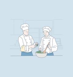 teamwork cooking restaurant food concept vector image