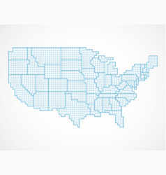 united states blank map with borders vector image