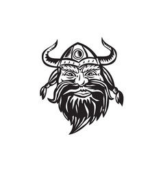 Viking Warrior Head Angry Black and White vector image