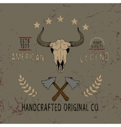 Vintage label with skull of bull vector image