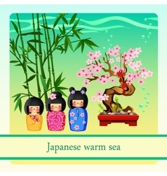 Warm sea with elements of Japanese culture vector